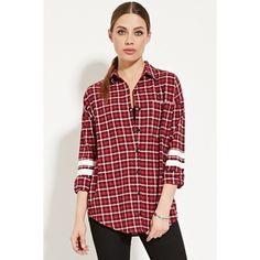 Forever 21 Women's  Varsity-Striped Flannel Shirt ($25) ❤ liked on Polyvore featuring tops, plaid shirt, long-sleeve shirt, long sleeve plaid shirts, red plaid shirt and red collar shirt
