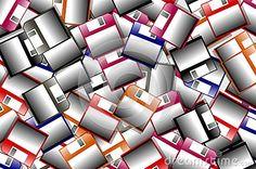 Background made with colorful isolated floppy disks