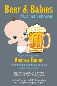 MAN SHOWER Beer and babies Diaper Party by PaperHeartCompany, $15.00