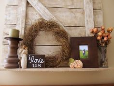 Barnwood shelf/ mantle with lovely rustic, shabby chic details
