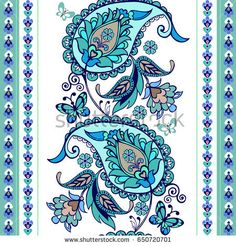 Turquoise oriental seamless paisley pattern. Floral wallpaper. Decorative ornament for fabric, textile, wrapping paper. Traditional oriental seamless paisley pattern.