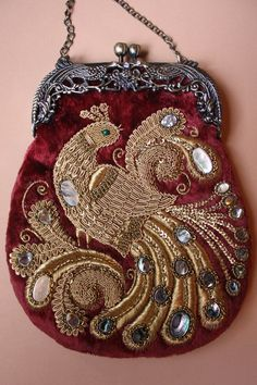 Exquisite Purse in Vintage Style. Goldwork Embroidery w' Beadwork. Handmade by Maria Nazarkina - Russia