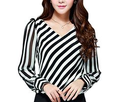 C2U Women New V-neck Slim Fit Stripe Chiffon Long Sleeve…