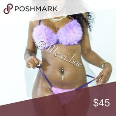 Faux Fur Purple Bra/Panty Set Color: Purple Material: Faux Fur Includes: Bra/Panty Set ***Due To Lack Of Size Variations,  When Ready To Purchase LEAVE A NOTE INCLUDING YOUR BRA & PANTY SIZE*** (Bra Sizes: 32B-38D Panty Sizes: XS-XL) We ship out immediately! Merci bae Intimates & Sleepwear