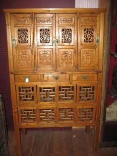 Antique Asian Furniture Kitchen Cabinet From China 8 Doors Top Section W 4 Beautifully
