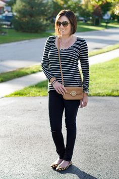 Pattern Mixing: How to Mix Stripes and Leopard. Click through for outfit details and shopping links. Jo-Lynne Shane | Fashion for Women Over 40 | Daily Mom Style | Everyday Fashion