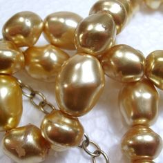 Vintage 1940's heavy enameled gold tone glass beads by jewelry715, $10.00
