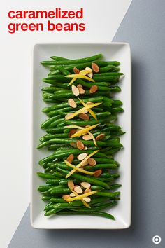 Green beans go! Add some green to your spread with this caramelized green bean recipe. They're super simple, super delicious and can be ready in under 30 minutes. Garnish them with toasted almonds and lemon zest for even more yumminess. Side Dish Recipes, Vegetable Recipes, Dinner Recipes, Clean Eating, Healthy Eating, Healthy Food, Cooking Recipes, Healthy Recipes, Salad Recipes