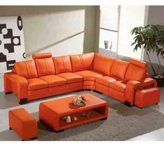 good-looking orange leather sofas you must have : gorgeous orange