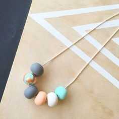 Welcome to Raf & Hop  6 beautiful handcrafted beads on a 80cm ball chain necklace  Mint, mint with copper foil, peach, white and grey  Only $6 shipping  Enjoy