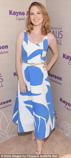 Prints charming: Sarah Drew (L) from Grey's Anatomy and Paula Patton stood out in bold dresses