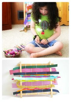 Ever done any weaving with your kids?  A Kids Weaving Craft [From the Mamas] - #kids #kidscrafts at B-InspiredMama.com