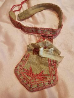 Pretty all hand made and embroidery fashion doll purse , possible home made and from around 1880 ! A very nice one and one of a kind of hand made fine