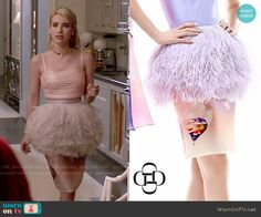 Chanel's feather peplum skirt on Scream Queens. Outfit Details: http://wornontv.net/52422/ #ScreamQueens