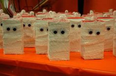 Class Halloween Party- juice boxes wrapped as mummies