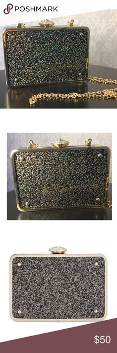 """INC Glitter Clutch or Crossbody with Chain INC Glitter Acrylic Clutch. Printed interior lining. It has a 24"""" Long detachable or drop-in chain strap. Bag converts from crossbody to clutch by removing the strap. Gold tone accents. 6-1/4"""" Wide, 4-1/4"""" H x 1-1/4"""" D INC International Concepts Bags Clutches & Wristlets"""