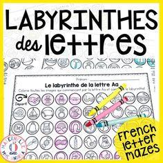Labyrinthes des lettres (Letter Mazes for the FRENCH alphabet) Letter Maze, French Alphabet, French Resources, Beginning Sounds, Teaching French, French Language, Target, Students, Classroom