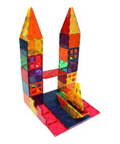 This fun and educational play set helps builders of all ages develop math, logic and problem solving skills. The magnetic tiles attract on all sides, helping little ones move from 2-D to 3-D construction the more they build.