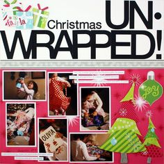 Love this title:) Unwrapped Holidazzle Scrapbooking Layout Idea Christmas Scrapbook Layouts, Scrapbook Titles, Kids Scrapbook, Scrapbook Sketches, Scrapbook Page Layouts, Scrapbook Cards, Christmas Layout, Scrapbooking Ideas, Scrapbook Photos