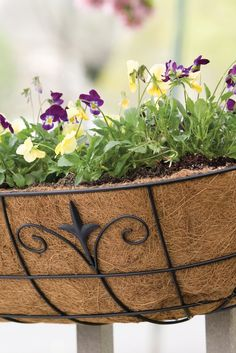 Dress up your deck with a Finial 30'' Deck Planter. Featuring a powder-coated steel frame and a coco liner, this planter will enhance your outdoor space.