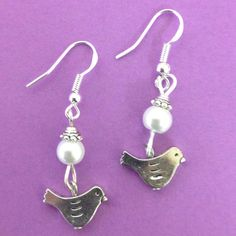 Bird's Nest Earrings with Pearl Accent Beads - on sterling silver earwires by AnnPedenJewelry on Etsy