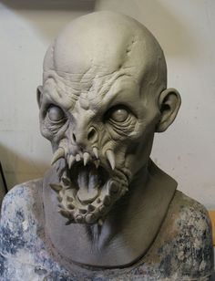 Zombie Monster, Monster Mask, Creature Feature, Creature Design, Weird Creatures, Fantasy Creatures, Zbrush, Traditional Sculptures, Sculpture Head