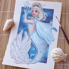 Elsa Mermaid Illustration by Raquel Travé Elsa Mermaid, Mermaid Disney, Mermaid Art, Arte Disney, Disney Magic, Disney Frozen, Elsa Frozen, Frozen Art, Harry Potter Disney