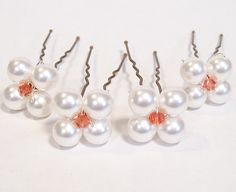 4 White & Peach Coral Crystal Flower Hairpins Bridal by bonitaj