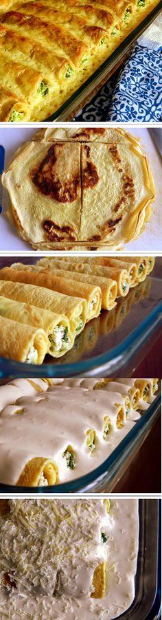 5 ovos     5 colheres de goma de tapioca     2 colheres de sopa de fermento     1 bolinha de ricota esfarelada (250g)     1 maço de espinafre (só as folhas) lavado, cozido no vapor e picado     1 lata de creme de leite     2 colheres de sopa de manteiga     1 pote de cream cheese ou requeijão      Sal, pimenta e noz moscada a gosto     Parmesão ralado na hora a gosto       Bata os ovos com a tapioca e o fermento e prepare 5 panquecas grandes     Corte ao meio e retire as bordas de forma qu