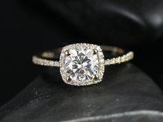 Barra Petite Size 14kt Yellow Gold Thin FB Moissanite Cushion Halo Engagement Ring (Other metals and stone options available)