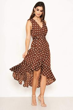 Brown Polka Dot Wrap Dress – AX Paris Black Dress Outfits, Summer Dress Outfits, Dressy Outfits, Wrap Dress Outfit, Wrap Dresses, Party Dresses, Dress Shoes, Look Office, Wrap Around Dress