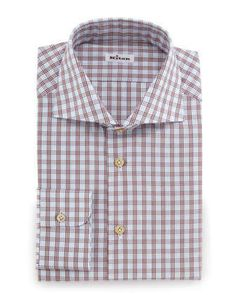 Check+Woven+Dress+Shirt,+Rust/Light+Blue+by+Kiton+at+Neiman+Marcus.