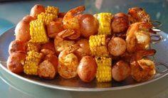 Shrimp Boil Kebabs ~ Jumbo shrimp, Polska Kielbasa, baby red potatoes and corn on the cob. Perfect for a summer BBQ!!