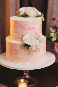 painted wedding #cake, photo by Clean Plate Pictures http://ruffledblog.com/romantic-brooklyn-winery-wedding #weddingcake #desserts