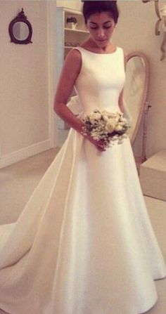 white simple wedding dress,bow wedding dress,backless bridal gowns,round neck wedding dress