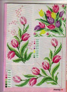 Χειροτεχνήματα: σχέδια με τουλίπες για κέντημα / tulip cross stitch patterns