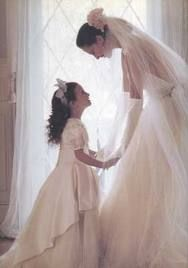 I love this bride and flower girl moment <3