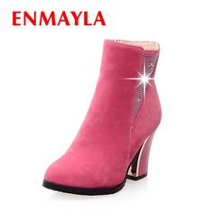 61.42$  Watch now - http://alif1u.worldwells.pw/go.php?t=32435484601 - ENMAYLA New Fashion Style Winter Women Ankle Boots Rhinestone Round Toe Square High Heels Flock Zip Boots Large Size 34-43