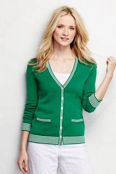 Women's Cotton Cardigan Sweater - Tipped from Lands' End