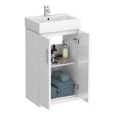Nova Cloakroom Suite - Floor Standing Basin Unit & Close Coupled Toilet at Victorian Plumbing UK White Vanity Unit, Cloakroom Vanity Unit, Cloakroom Suites, Bathroom Sink Units, Cloakroom Basin, Compact Bathroom, Vanity Units, Vanity Sink, Small Bathroom