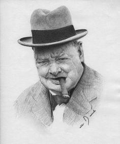 Winston Churchill Pencil by Allen D. Aramide