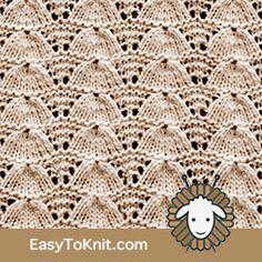 Eyelet Lace Lucina Shell - Easy To Knit Lace Knitting Stitches, Knitting Machine Patterns, Loom Knitting Projects, Lace Knitting Patterns, Doily Patterns, Free Knitting, Stitch Patterns, Eyelet Lace, Baby Shawl