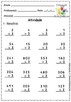 Multiplicação Free Reading Comprehension Worksheets, First Grade Math Worksheets, Writing Practice Worksheets, 3rd Grade Math Worksheets, Subtraction Worksheets, Multiplication, Math Exercises, Math Drills, Math Sheets