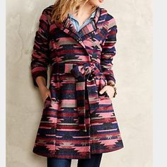 Anthropologie Leona Wrap Coat, M The Leona Wrap coat by Tabitha for Anthropologie. Size M. Excellent condition! Only worn a few times last season. Not too heavy, very soft, has side seam pockets and one top button. Beautiful colorful Aztec design. Anthropologie Jackets & Coats Pea Coats