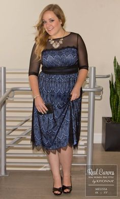 "Return Rockstar Melissa (5'5"" and a size 0x) dazzles in our plus size Vintage Dream Cocktail Dress.  www.kiyonna.com  #KiyonnaPlusYou  #MadeintheUSA  #SemiFormal"