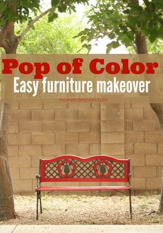 Bright Red Bench Makeover- the dramatic difference a pop of color can make!