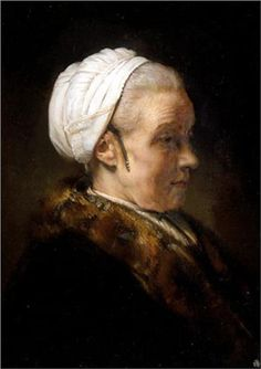 Lighting Study of an Elderly Woman in a White Cap - Rembrandt