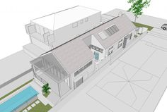 Queen's Park Alterations Additions - view of side courtyard architecture Houses, Queen, Drawing, Park, Architecture, Projects, Homes, Arquitetura, Log Projects