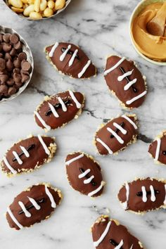 My grandma makes a version of these every Christmas and we fight to see who gets one (or more) before theyre gone. I turned them into a party-pleasing dessert for my husband and his buddies during football season. Note: make these on a full stomach or you may end up eating too many while you decorate.   (Cook time = refrigerator time)