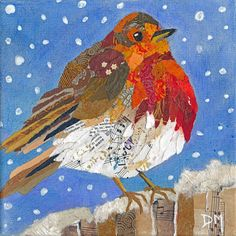 Robin Original Torn Painted Paper Collage on by DawnsGallery